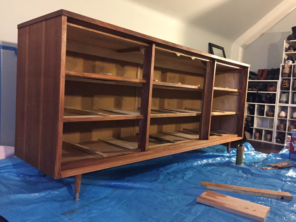 minwax wipe-on poly and stain dresser frame